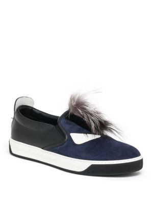 Monster Mohawk Fur Trimmed Leather Sneakers