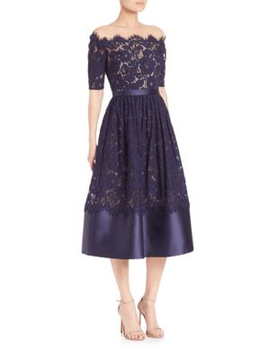Off-The-Shoulder Lace Midi Dress
