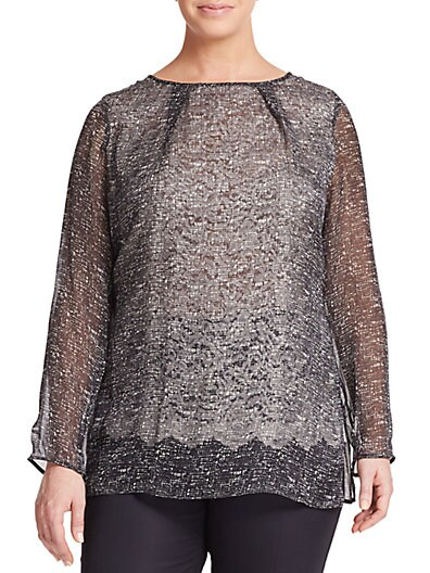 Silk & Lace Printed Blouse