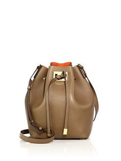 b6f56d79404c15 Michael Kors Collection Miranda Medium Leather Bucket Bag