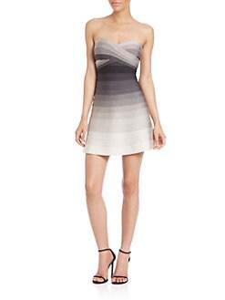 Herve Leger - Strapless Ombré Bandage Dress