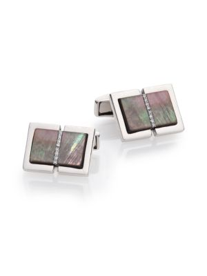 Diamond, Black Mother-Of-Pearl & Sterling Silver Cuff Links
