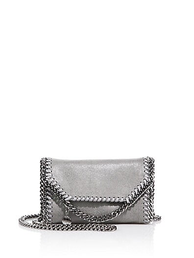 Stella McCartney Tiny Falabella Faux Leather Fold-Over Chain Crossbody Bag