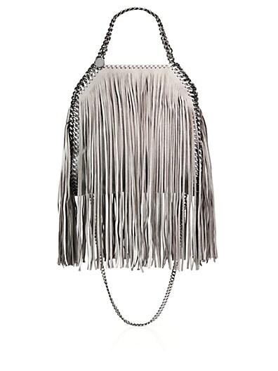 Stella McCartney Falabella Mini Baby Bella Metallic Fringed Faux Suede Shoulder Bag