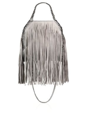 Falabella Mini Baby Bella Metallic Fringed Faux Suede Shoulder Bag