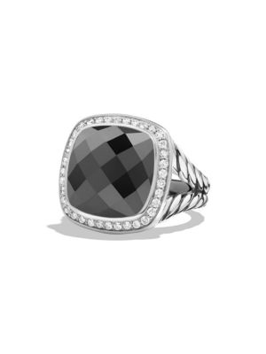 Albion Ring with Diamonds and Faceted Hematine