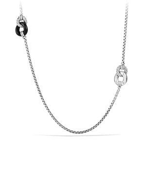 Belmont Curb Link Four Station Necklace with Black Onyx