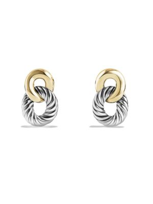 Belmont Curb Link Drop Earrings with 18K Yellow Gold