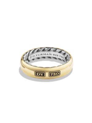 Exotic Stone Streamline Sterling Silver & 18K Yellow Gold Ring