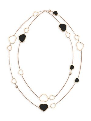 Happy Hearts 18K Rose Gold, Diamond & Onyx Two-Strand Station Necklace