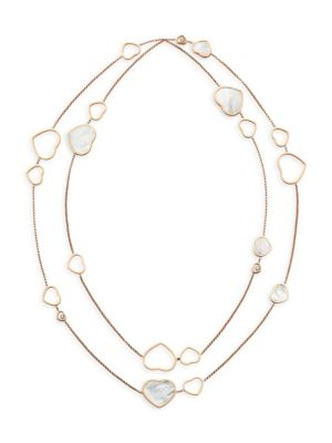 Happy Hearts 18K Rose Gold, Diamond & Mother-Of-Pearl Two-Strand Station Necklace