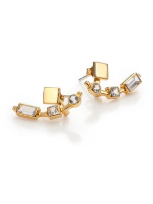 Lewitt White Sapphire Ear Jacket & Stud Earrings Set