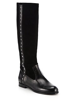 Alexander McQueen - Studded Leather & Suede Knee-High Boots