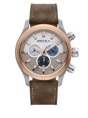 Eterno Chrono Two-Tone Stainless Steel & Leather Chronograph Strap Watch