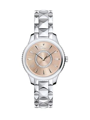 Dior VIII Montaigne Diamond, Mother-Of-Pearl & Two-Tone Stainless Steel Bracelet Watch