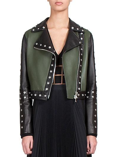 Studded Contrast Leather Jacket