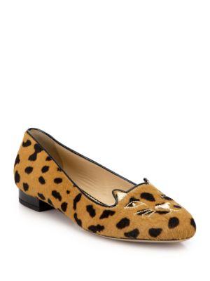 Leopard-Print Calf Hair Kitty Flats