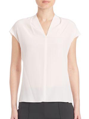 Silk Cap-Sleeve Blouse by Escada