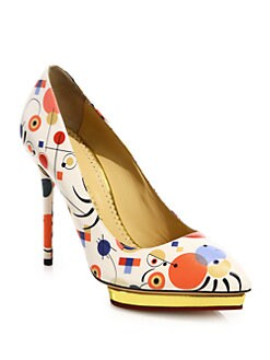 Charlotte Olympia Debbie Abstract-Print Leather Pumps