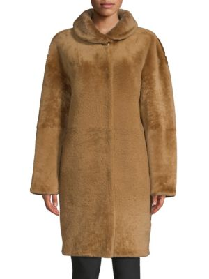 ESCADA Shearling Jewel-Button Coat
