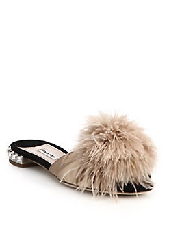 801426829d Miu Miu Feather & Crystal-Embellished Suede Slide Sandals from Saks ...