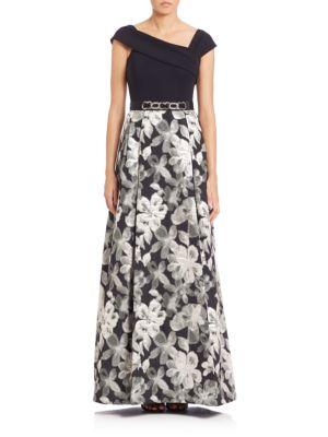 Floral Skirt Embellished Gown