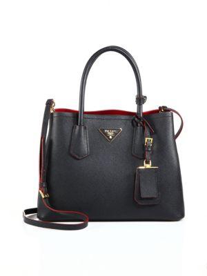 ... usa prada saffiano cuir small double bag black red 87014 12079 b03c87f7925b1