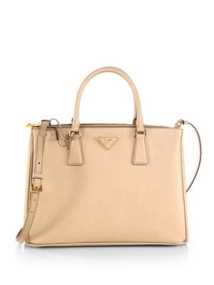 Saffiano Lux Medium Double-Zip Leather Satchel