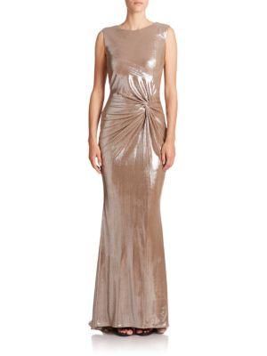 Metallic Twist-Front Gown
