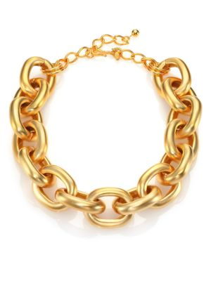 Satin-Finish Medium Oval Link Necklace