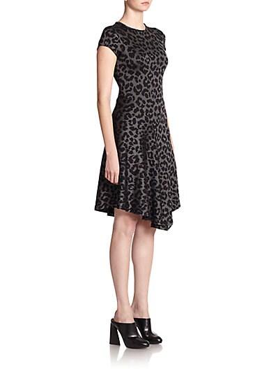 Leopard-Jacquard Jersey Dress