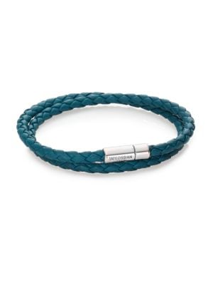 Scoubidou Leather & Sterling Silver Braided Double-Wrap Bracelet