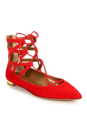 Aquazzura Belgravia Suede Point-Toe Lace-Up Flats