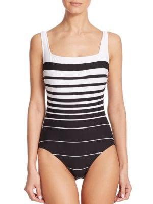 One-Piece Striped Underwire Swimsuit plus size,  plus size fashion plus size appare