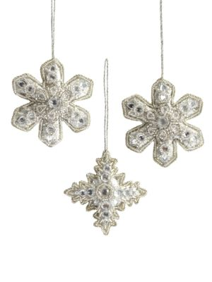 Snowflake Embellished Ornament Gift Set