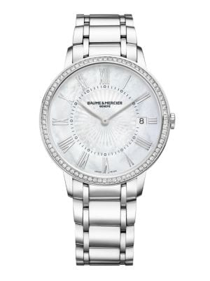 Classima Diamond, Mother-Of-Pearl & Stainless Steel Bracelet Watch