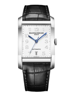 Hampton Stainless Steel & Alligator Automatic Strap Watch/Black
