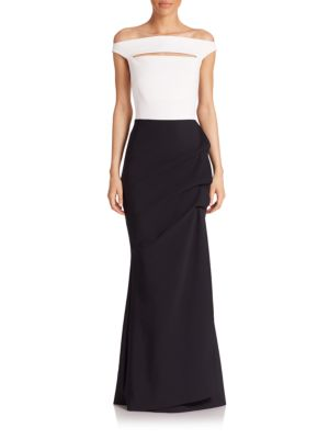 Melania Colorblock Off-The-Shoulder Gown