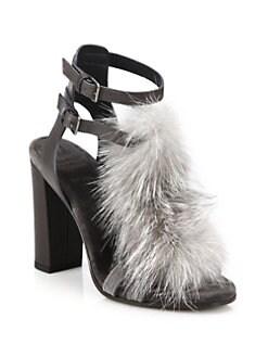Brunello Cucinelli - Fox Fur & Chain-Trimmed Leather T-Strap Sandals