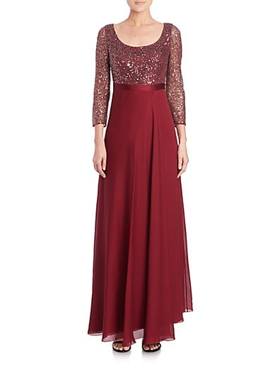 Sequined Three-Quarter Sleeve Chiffon Gown $453.60 AT vintagedancer.com