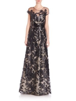 Sequined Lace A-Line Gown