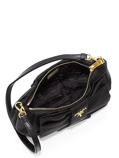 PRADA Nylon Bow Pochette, Black (Nero)