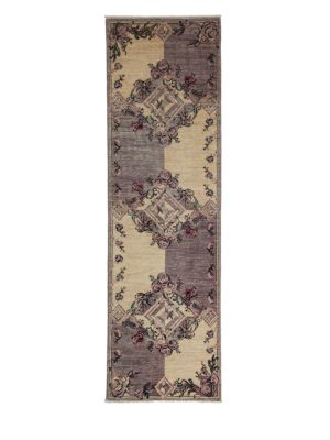 Ziegler Collection Floral Tile-Patterned Oriental Runner Rug