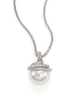 MIKIMOTO Twist 11MM White Cultured South Sea Pearl, Diamond & 18K White Gold Pendant Necklace