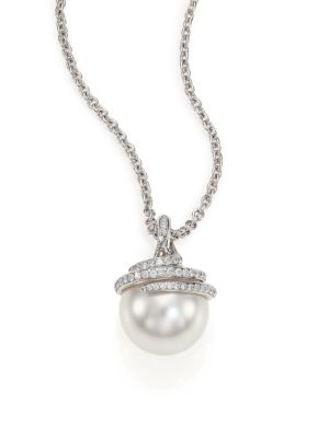 Twist 11MM White Cultured South Sea Pearl, Diamond & 18K White Gold Pendant Necklace