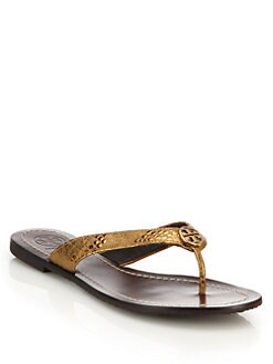 69439a529fe07 Tory Burch Thora Metallic Leather Thong Sandals
