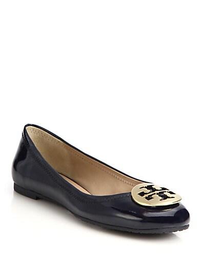 TORY BURCH Bright Navy Patent Leather 'Reva' Ballerina Flats, Black Leather/  Silver