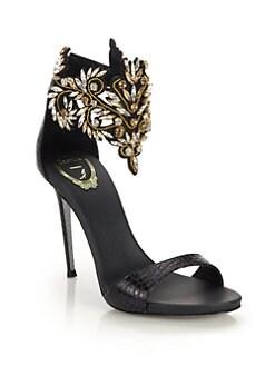 Rene Caovilla Crystal Cuff Snakeskin Sandals