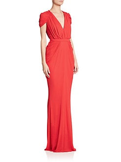 Emilio Pucci Dress Cap Slv Po Front Drape Draped Cap Sleeve Gown