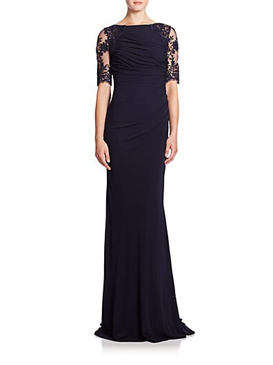 Lace-Sleeve Ruched Jersey Gown $328.11 AT vintagedancer.com